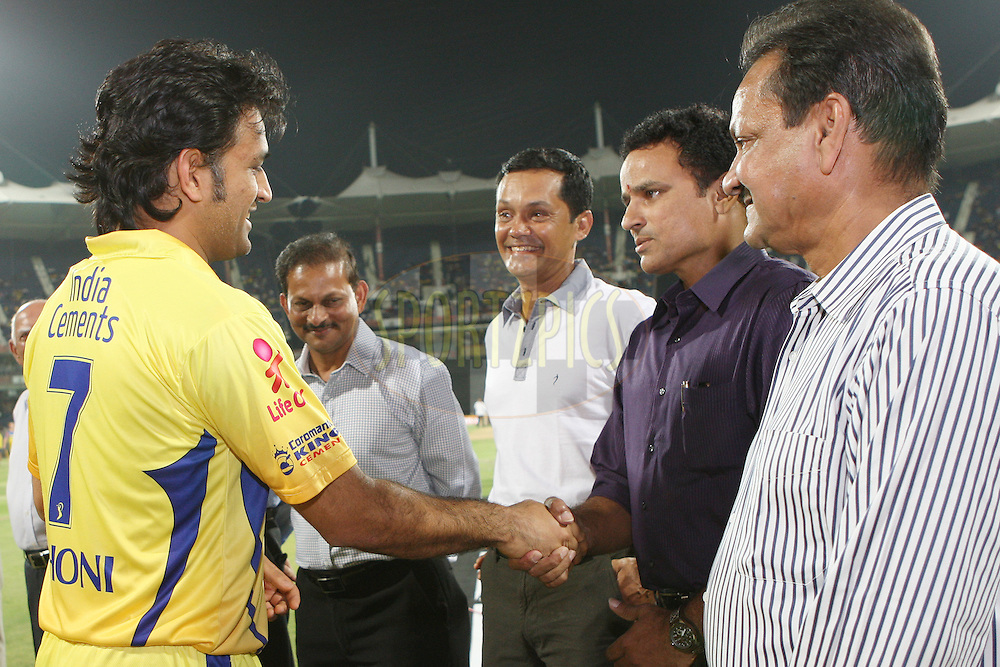 MS Dhoni greets former Test cricketers during the second Qualifying match of the Indian Premier League ( IPL) 2012  between The Chennai Superkings and the Delhi Daredevils held at the M. A. Chidambaram Stadium, Chennai on the 25th May 2012..Photo by Jacques Rossouw/IPL/SPORTZPICS