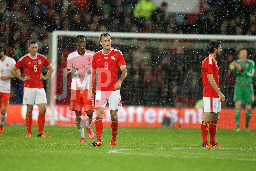 Wales players cut frustrated figures after conceding - Mandatory byline: Robbie Stephenson/JMP - 07966 386802 - 13/11/2015 - FOOTBALL - Cardiff City Stadium - Cardiff, Wales - Wales v Netherlands - International Friendly