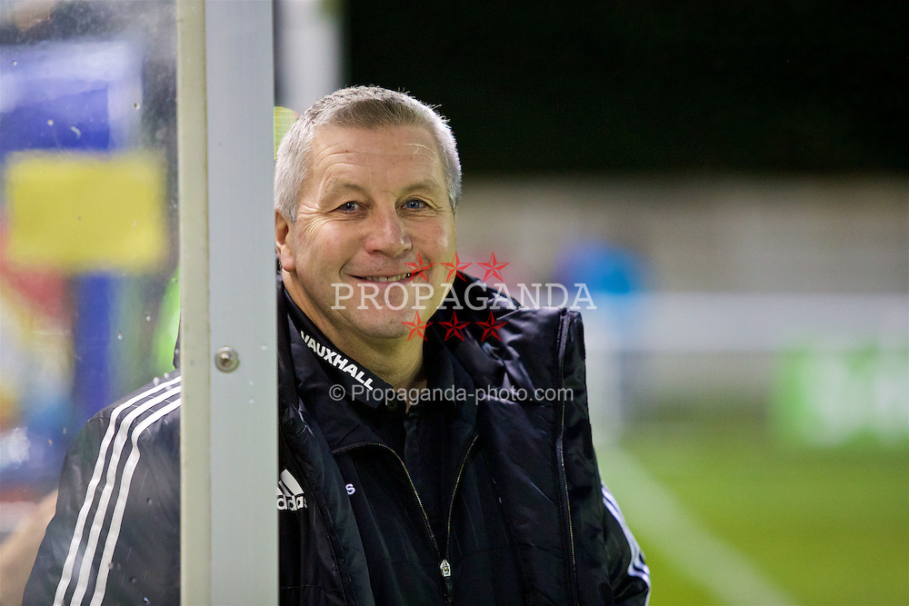 BANGOR, WALES - Saturday, November 12, 2016: Wales' head coach Geraint Williams before the UEFA European Under-19 Championship Qualifying Round Group 6 match against England at the Nantporth Stadium. (Pic by Gavin Trafford/Propaganda)