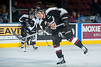 KELOWNA, CANADA - JANUARY 7: Matt Bellerive #14 of Vancouver Giants warms up against the Kelowna Rockets on January 7, 2015 at Prospera Place in Kelowna, British Columbia, Canada.  (Photo by Marissa Baecker/Shoot the Breeze)  *** Local Caption *** Matt Bellerive;