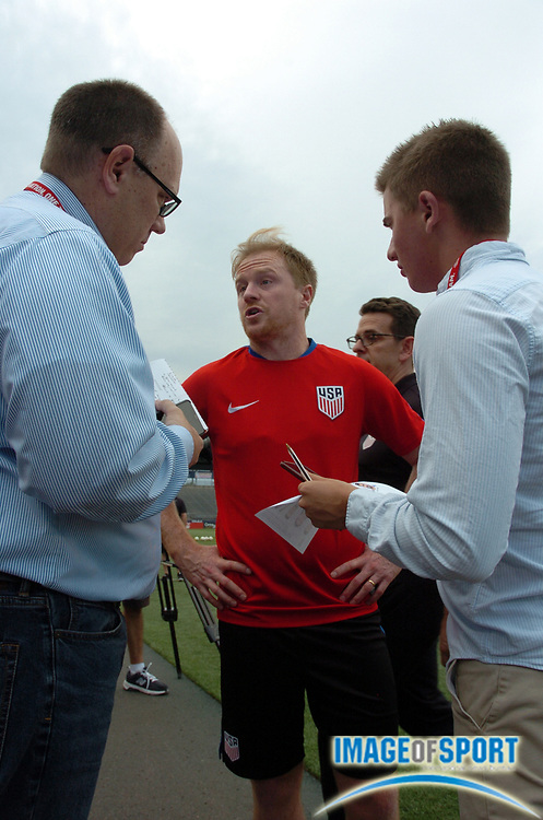 June 30, 2017; East Hartford, CT, USA; United States midfielder Dax McCarty speaks to media before a training session in East Hartford, CT at Rentschler Field. Photo by Reuben Canales