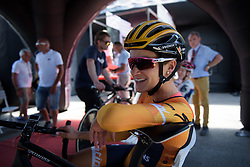 Lizzie Deignan chats with Romy Kasper before Stage 5 of the Giro Rosa - a 12.7 km individual time trial, starting and finishing in Sant'Elpido A Mare on July 4, 2017, in Fermo, Italy. (Photo by Sean Robinson/Velofocus.com)