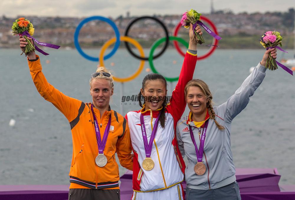 GOLD LASER  RADIAL<br /> Xu Lijia, (CHN, Laser Radial)<br /> Bouwmeester Marit, (NED, Laser Radial)<br /> Van Acker Evi, (BEL, Laser Radial)<br /> <br /> 2012 Olympic Games <br /> London / Weymouth
