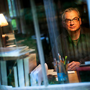 "October 7, 2013 - New Yor, NY : Playwright Richard Nelson, whose four-play cycle the ""Apple Family Plays"" are set in his hometown of Rhinebeck in the Hudson Valley, poses for a portrait in his home office on Monday afternoon. CREDIT: Karsten Moran for The New York Times"