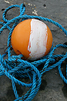 Fisherman's blue rope and bouy on Inis Oirr the Aran Islands Galway Ireland