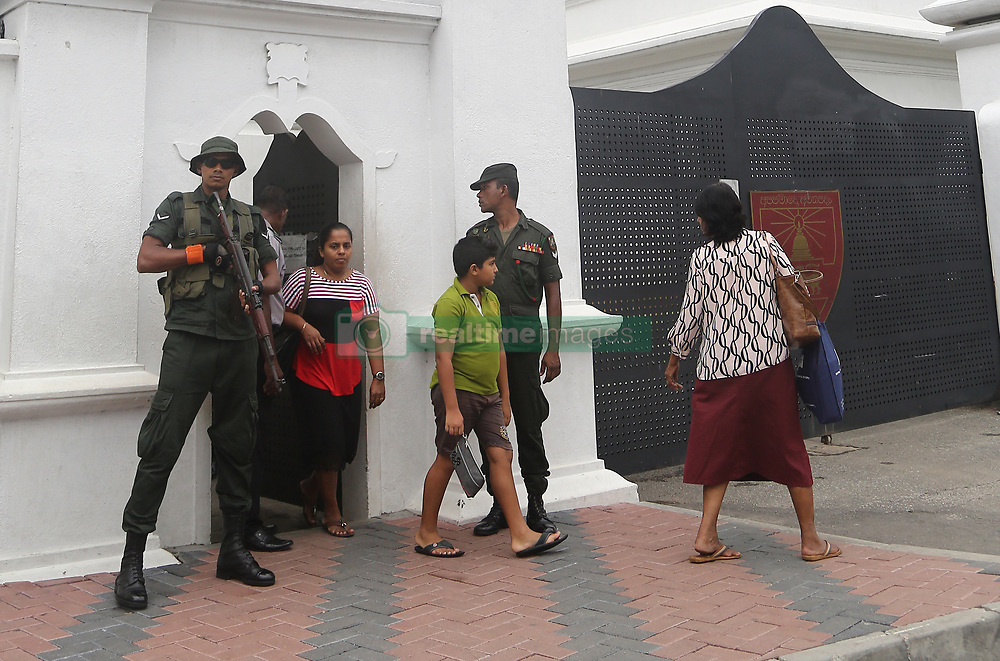 May 3, 2019 - Colombo, Sri Lanka - Sri Lankan Soldiers stand guard on outside the School, in Colombo on May 3, 2019. a week after a series of bomb blasts targeting churches and luxury hotels on Easter Sunday. (Credit Image: © Pradeep Dambarage/ZUMA Wire)