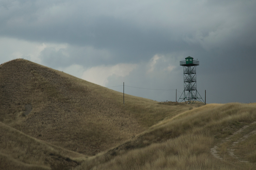 September 11, 2016 A Kyrgyz border guard tower stands watch over the Uzbek border, since both sides frequently make incursions into each other's territory, particularly over water in the Kyrgyz portion of the Fergana Valley, near the town of Ala-Buka.