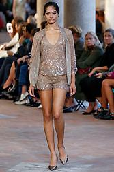 Model Shanina Shaik walks on the runway during the Alberta Ferretti Fashion Show during Milan Fashion Week Spring Summer 2018 held in Milan, Italy on September 20, 2017. (Photo by Jonas Gustavsson/Sipa USA)