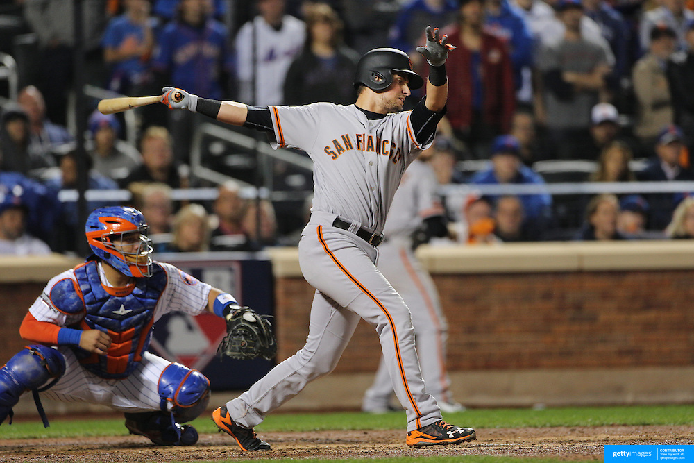 NEW YORK, NEW YORK - October 5: Joe Panik #12 of the San Francisco Giants batting during the San Francisco Giants Vs New York Mets National League Wild Card game at Citi Field on October 5, 2016 in New York City. (Photo by Tim Clayton/Corbis via Getty Images)
