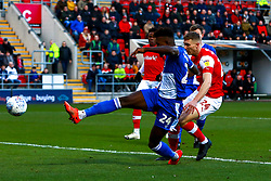Rollin Menayese of Bristol Rovers clears the ball in a dangerous area - Mandatory by-line: Ryan Crockett/JMP - 18/01/2020 - FOOTBALL - Aesseal New York Stadium - Rotherham, England - Rotherham United v Bristol Rovers - Sky Bet League One