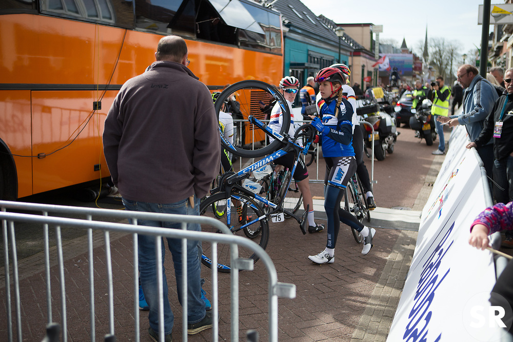 Keira McVitty (GBR) of Team WNT walks to the start of Stage 1b of the Healthy Ageing Tour - a 77.6 km road race, starting and finishing in Grijpskerk on April 5, 2017, in Groeningen, Netherlands.