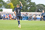 Leeds United midfielder Mateusz Bogusz (7) scores a goal and celebrates to make the score 1-2 during the Pre-Season Friendly match between Guiseley  and Leeds United at Nethermoor Park, Guiseley, United Kingdom on 11 July 2019.
