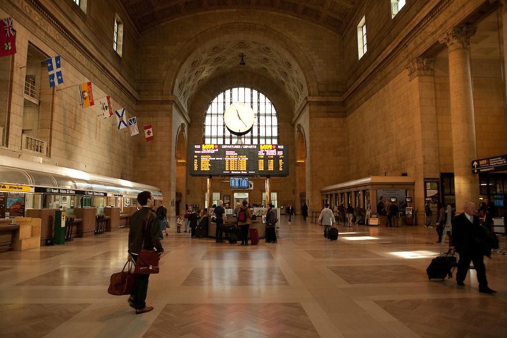 Train passengers in the Great Hall, the main waiting room of Toronto's Union Station