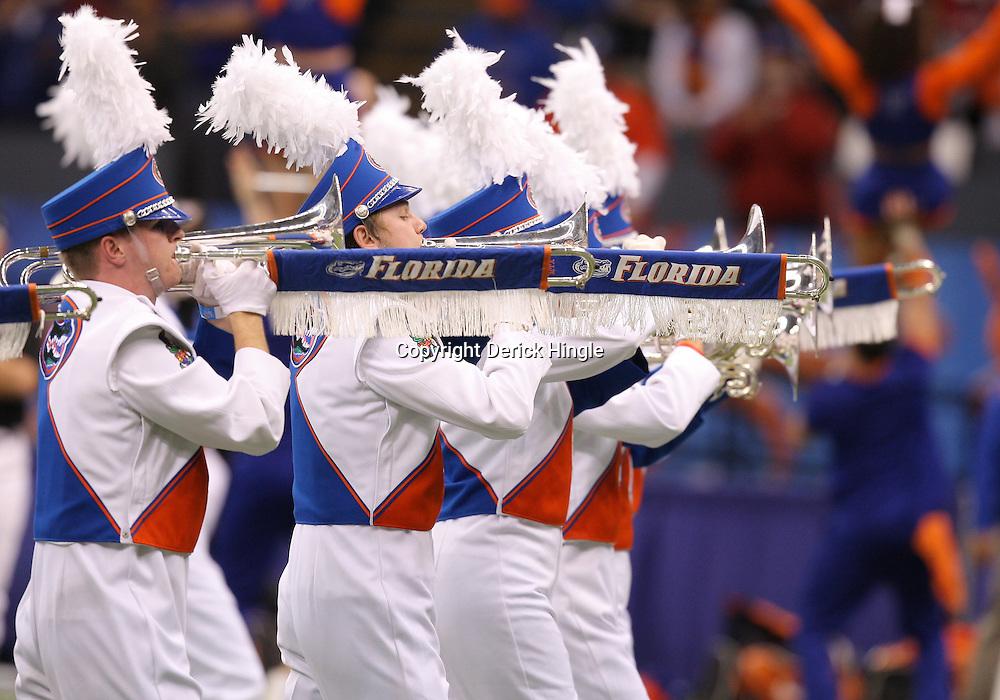 Jan 01, 2010; New Orleans, LA, USA;  The Florida Gators band performs prior to kickoff of the 2010 Sugar Bowl at the Louisiana Superdome.  Mandatory Credit: Derick E. Hingle-US PRESSWIRE.