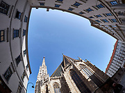 Vienna, Austria. Vienna seen through a fisheye lens. Stephansdom (St. Stephen's dome).