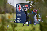 Eddie Pepperell of England tees off during the British Masters 2018 at Walton Heath Golf Course, Walton On the Hill, Surrey on 14 October 2018. Picture by Martin Cole.