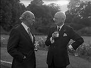 06/09/1978<br /> 09/06/1978<br /> 06 September 1978<br /> Reception for Mr. Sean Donlon, New Irish Ambassador to the United States, at the U.S. Embassy Residence, Phoenix Park, Dublin. Image shows Taoiseach Jack Lynch with Ambassador William V. Shannon.