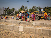 Roadwork gang working on the road from Bardia National Park to Nepalgunj, Nepal.