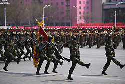 PYONGYANG, April 15, 2017  Soldiers attend a military parade in central Pyongyang, April 15, 2017. The Democratic People's Republic of Korea (DPRK) Saturday showcased its military muscles by parading all of its most-advanced ballistic and tactic missiles, including a submarine-launched ballistic missile which could strike targets 1000 km away.  wtc) (Credit Image: © Cheng Dayu/Xinhua via ZUMA Wire)