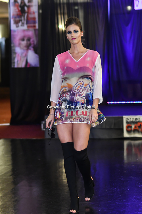 Samina Mughal showcases a set (City Style) at SMGlobal Catwalk - London Fashion Week F/W19 at Clayton Crown Hotel,  Cricklewood Broadway, on 1st March 2019, London, UK.