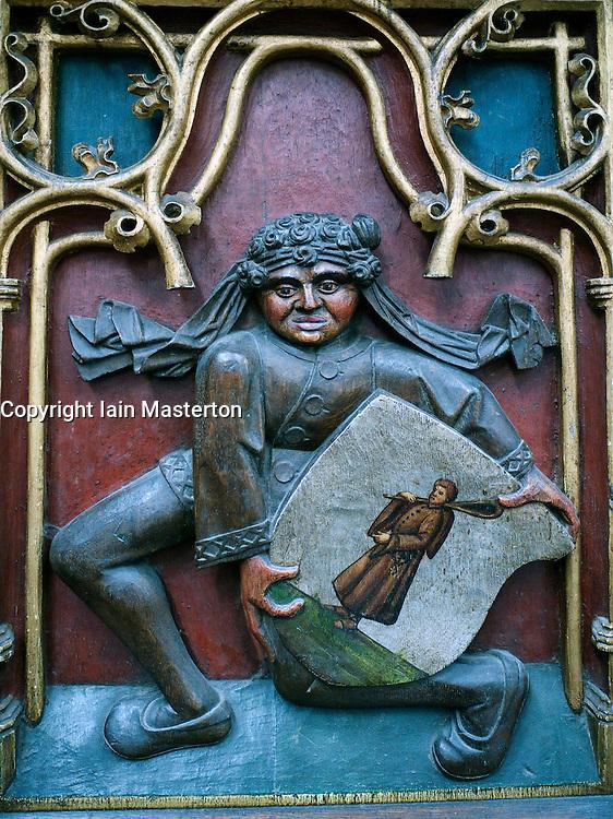 Deail of wooden carvings inside Sint-Bavokerk (or St Bavo's churchl), Haarlem , Netherlands