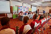 Warsaw, Poland - 2017 October 03: (L-R) Trainer coach Bogdan Gryczuk and rower Marta Wierzbowska and Magalena Hilszer (Enea) and Ryszard Stadniuk (President of Polish Rowing Association) and Jan Widera Deputy Minister of Sport and rower Agnieszka Kobus and rower Mateusz Biskup attend press conference of Polish Rowing National Team at Chopin Airport on October 03, 2017 in Warsaw, Poland.<br /> <br /> Mandatory credit:<br /> Photo by &copy; Adam Nurkiewicz / Mediasport<br /> <br /> Adam Nurkiewicz declares that he has no rights to the image of people at the photographs of his authorship.<br /> <br /> Picture also available in RAW (NEF) or TIFF format on special request.<br /> <br /> Any editorial, commercial or promotional use requires written permission from the author of image.