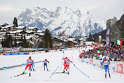 February 21, 2019 - Seefeld In Tirol, Austria - Johannes HÂ¿sflot Kl¾bo of Norway, Simeon Hamilton of USA, Sindre BjÂ¿rnestad Skar of Norway, Sindre BjÅ¡rnestad Skar of Norway and Sergej Ustiugov of Russia competes in men's cross-country skiing sprint semi final during the FIS Nordic World Ski Championships on February 21, 2019 in Seefeld in Tirol. (Credit Image: © Joel Marklund/Bildbyran via ZUMA Press)