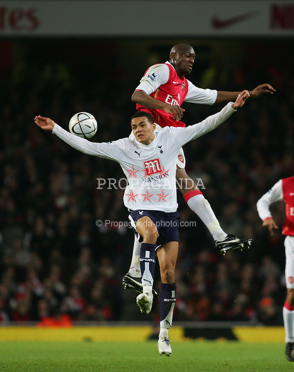LONDON, ENGLAND - Wednesday, January 31, 2007: Arsenal's Abou Diaby in action against Tottenham Hotspur's Jermaine Jenas during the Football League Cup Semi-Final 2nd Leg at the Emirates Stadium. (Pic by Chris Ratcliffe/Propaganda)
