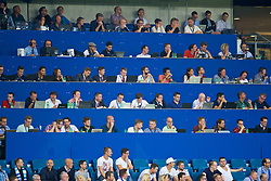 SINSHEIM, GERMANY - Tuesday, August 15, 2017: The media watch from the press benches during the UEFA Champions League Play-Off 1st Leg match between TSG 1899 Hoffenheim and Liverpool at the Rhein-Neckar-Arena. (Pic by David Rawcliffe/Propaganda)