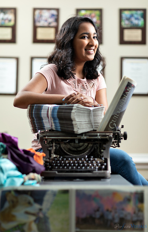 Praveena Somasundaram will graduate May 24 from the Early College at Guilford, and by August, she&rsquo;ll enroll as a freshman at UNC-Chapel Hill. She was named a Morehead-Cain scholar, a scholarship that will cover all her tuition and student fees &ndash; an $80,000 value. Her classmates voted her &ldquo;Most Likely To Change The World.&rdquo;<br /> <br /> Photographed, Wednesday, May 16, 2018, in Greensboro, N.C. JERRY WOLFORD and SCOTT MUTHERSBAUGH / Perfecta Visuals