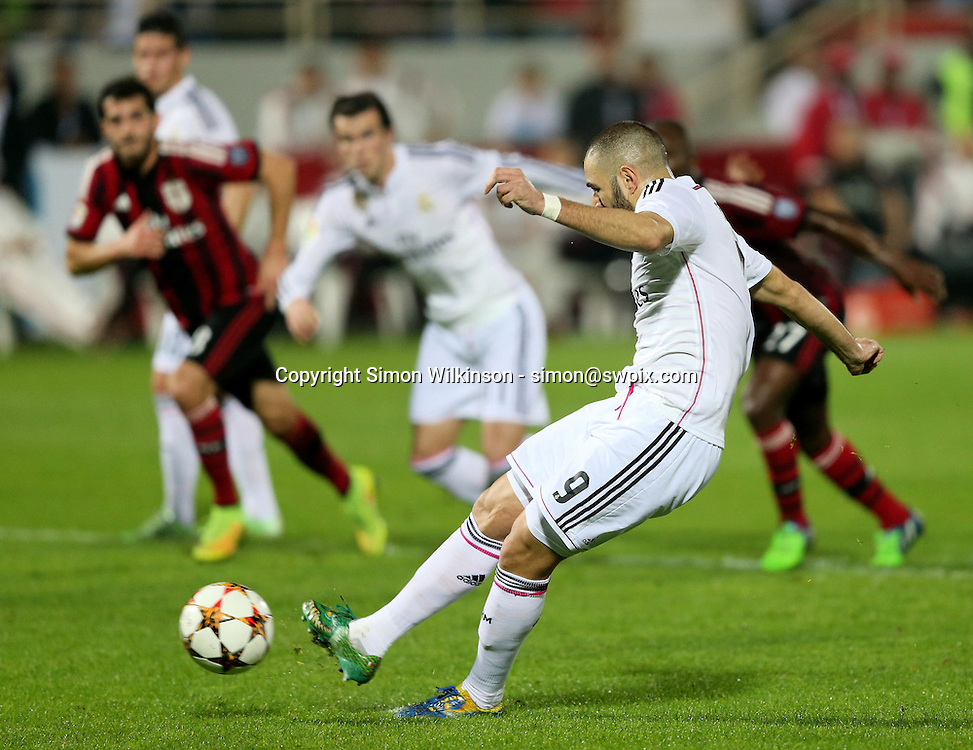 Dubai Football Challenge 2014, Sevens Stadium Dubai, 30/12/14 - Real Madrid's Karim Benzema converts the penalty in their 4-2 loss to AC Milan