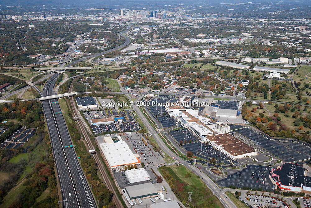 Aerial photo of the Nashville Skyline showing I-65, I-440, 100 Oaks Mall and Woodmont Boulevard in the background.