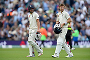 Rory Burns of England and Joe Root of England walk off for lunch during the 5th International Test Match 2019 match between England and Australia at the Oval, London, United Kingdom on 12 September 2019.