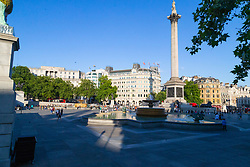 Trafalgar Square, usually packed with tourists is almost deserted as England meet Croatia in the World Cup. London, July 11 2018.