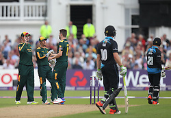Matt Henry of Worcestershire Rapids (R) walks off after being caught behind by Chris Read of Notts Outlaws (2nd L) off the bowling of Harry Gurney - Mandatory by-line: Jack Phillips/JMP - 09/07/2016 - CRICKET - Trent Bridge - Nottingham, United Kingdom - Nottingham Outlaws v Worcestershire Rapids - Natwest T20 Blast