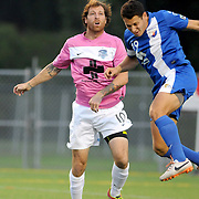 Wilmington's Cody Arnoux challenges Dayton's Ross Friedman Saturday August 9, 2014 at Legion Stadium in Wilmington, N.C. (Jason A. Frizzelle)