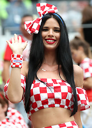 MOSCOW, July 11, 2018  A fan of Croatia poses prior to the 2018 FIFA World Cup semi-final match between England and Croatia in Moscow, Russia, July 11, 2018. (Credit Image: © Cao Can/Xinhua via ZUMA Wire)