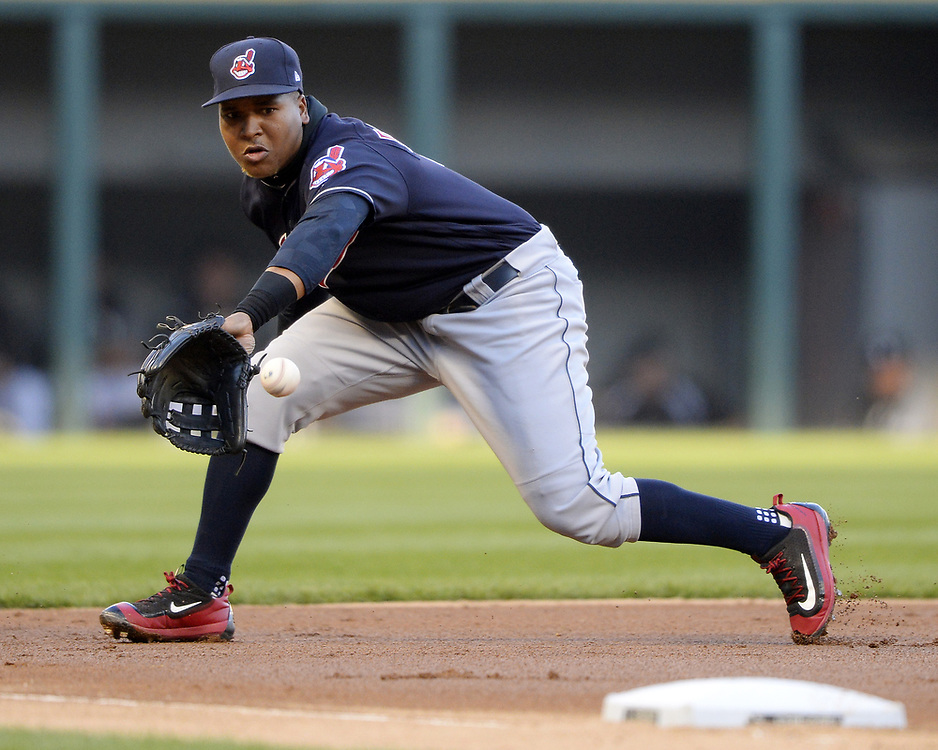 CHICAGO - APRIL 22:  Jose Ramirez #11 of the Cleveland Indians fields a ground ball during the game against the Chicago White Sox on April 22, 2017 at Guaranteed Rate Field in Chicago, Illinois.  The Indians defeated the White Sox 7-0.  (Photo by Ron Vesely)   Subject:  Jose Ramirez