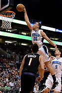 Mar 17, 2017; Phoenix, AZ, USA; Orlando Magic forward Aaron Gordon (00) dunks the ball against the Phoenix Suns in the first half of the NBA game at Talking Stick Resort Arena. Mandatory Credit: Jennifer Stewart-USA TODAY Sports