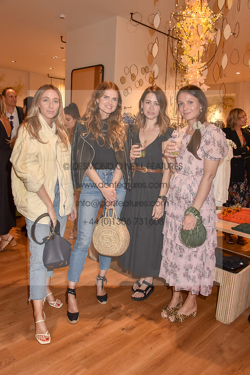 Charlotte Collins and Lucy Hough, Fashion Team from Sheerluxe, Zoe Carter- Mackay and Leighanne Jones, Directors at Free People. at a cocktail and dinner hosted by fashion label Free People at Free People 38-39 Duke of York Square, Chelsea, London England. 21 May 2019.