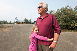 Andy Williams, base manager and pilot, and granddaughter Bronwyn Goodwin at Kluane Lake Research Station, Yukon.