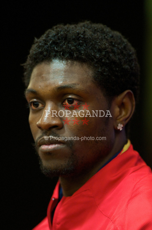 LIVERPOOL, ENGLAND - Monday, April 7,2008: Arsenal's Emmanuel Adebayor during a press conference at Anfield ahead of the UEFA Champions League Quarter-Final 2nd Leg against Liverpool. (Pic by David Rawcliffe/Propaganda)
