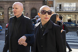 April 18, 2018 - London, London, UK - London, UK. Campaigner Christie Elan-Cane (R) arrives at The Royal Courts of Justice for the start of a two-day hearing over gender neutral 'X' passports.  Elan-Cane believes the UK's passport application process, which requires individuals to indicate whether they are male or female, is discriminatory. (Credit Image: © Rob Pinney/London News Pictures via ZUMA Wire)