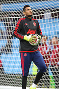Sergio Romero Goalkeeper of Manchester United before the Barclays Premier League match between Aston Villa and Manchester United at Villa Park, Birmingham, England on 14 August 2015. Photo by Phil Duncan.