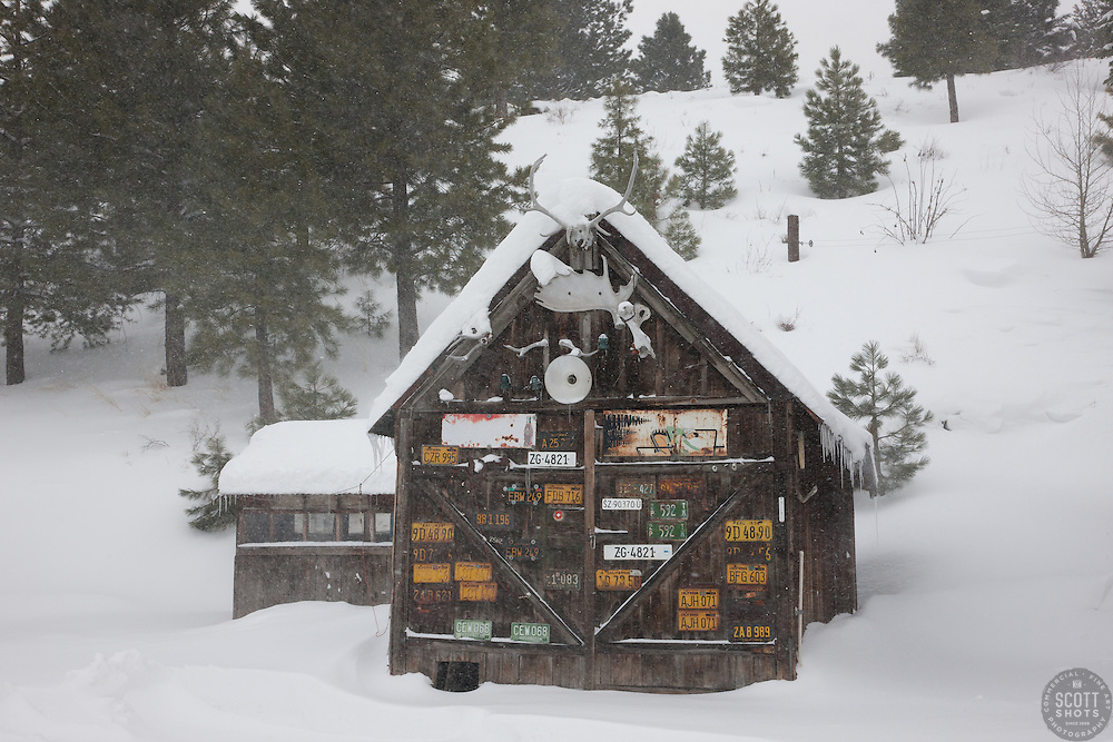 """Snowy Shack in Downtown Truckee 1"" - This sign and snow covered old shack was photographed in the early morning in Downtown Truckee, California."