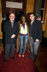 Left to right, writer SALMAN RUSHDIE, JUNE SARPONG and ZAFAR RUSHDIE at a party to launch the Ermenegildo Zegna Heritage Collection fo men at The Duchess Palace, Mansfield Street, London on 30th November 2006.<br /><br />NON EXCLUSIVE - WORLD RIGHTS