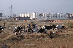 Shanty town on outskirts of Patiala; Punjab; India; with plastic tents; and buildings in the background,