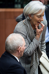 Wolfgang Schauble, German Federal Minister of Finance (L) talks with International Monetary Fund Managing Director Christine Lagarde during an emergency Eurogroup finance ministers meeting at the European Council in Brussels, Belgium on 20.02.2015 Eurogroup head Jeroen Dijsselbloem was working overtime on February 20 to save a make-or-break meeting on Greece's demand to ease its bailout programme as Germany insisted it stick with its austerity commitments after days of sharp exchanges, the 19 eurozone finance ministers gathered for the third time in little over a week to consider Athens' take-it or leave-it proposal to extend an EU loan programme which expires this month. by Wiktor Dabkowski. EXPA Pictures © 2015, PhotoCredit: EXPA/ Photoshot/ Wiktor Dabkowski<br /> <br /> *****ATTENTION - for AUT, SLO, CRO, SRB, BIH, MAZ only*****