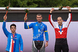 Third placed Tomas Slavik (Czech Republic), winner Michal Prokop (Czech Republic) and second placed Roger Rinderknecht (Switzerland) celebrate at medal ceremony at 5th European Championship in the 4-cross, on June 27, 2009, in Sport centre Pale, Ajdovscina, Slovenia. Due to bad weather conditions, the final part of the competition was cancelled. The results from the qualification part were called official. (Photo by Vid Ponikvar / Sportida)