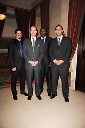 Left to right, OMRI BEZALEL, HRH THE EARL OF WESSEX, PIERRE KAYITANA and ISMAIL AL QAISI at a reception hosted by Films Without Borders at the Lanesborough Hotel, Hyde Park Corner, London on 27th October 2010.
